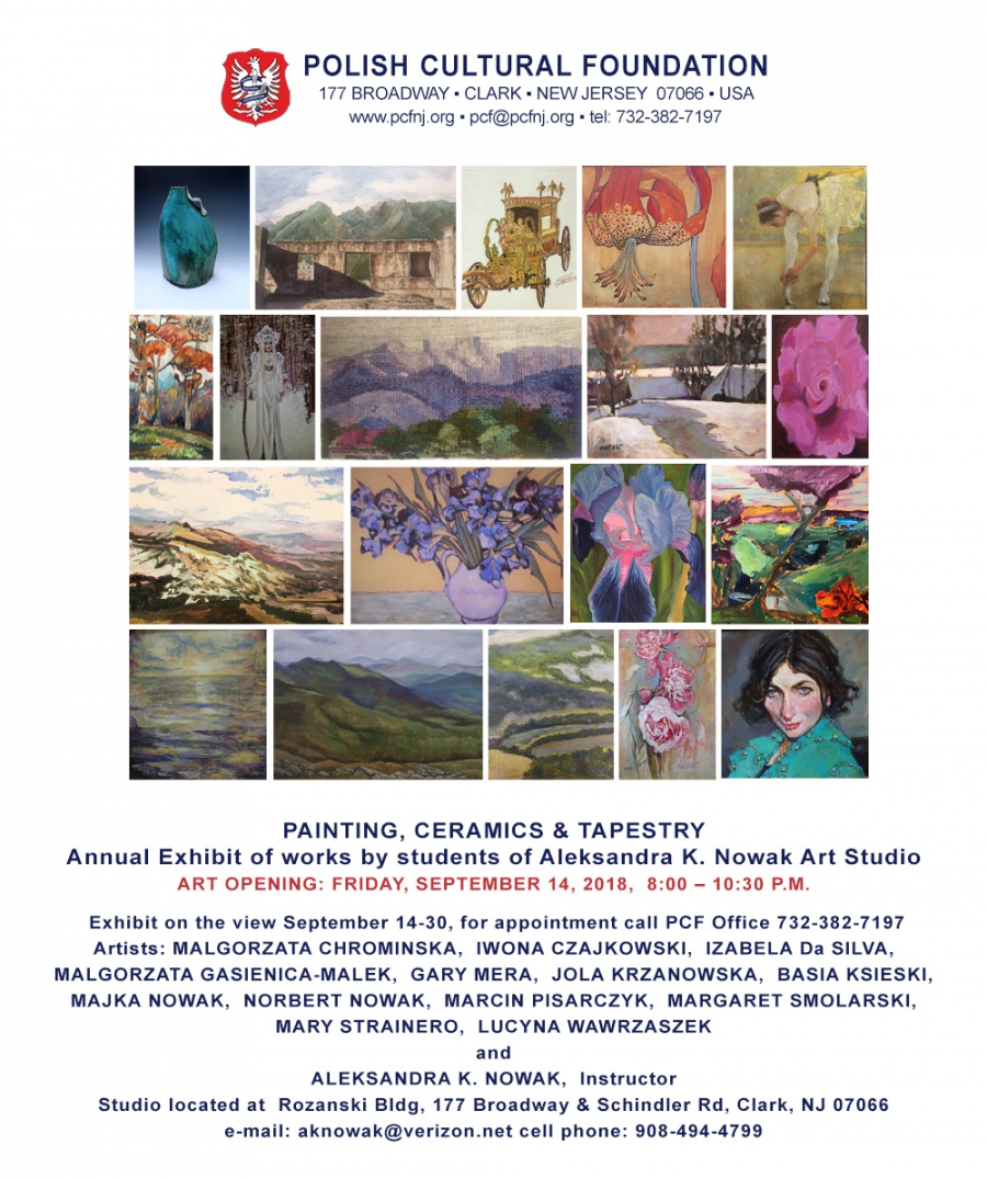PAINTING, CERAMICS & TAPESTRY  Annual Exhibit of works by students of Aleksandra K. Nowak Art Studio