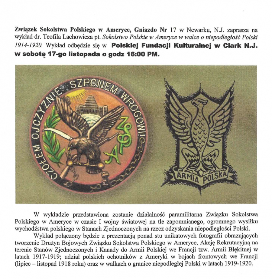 Polish Falcons of America in the fight for Polish independence 1914-1920